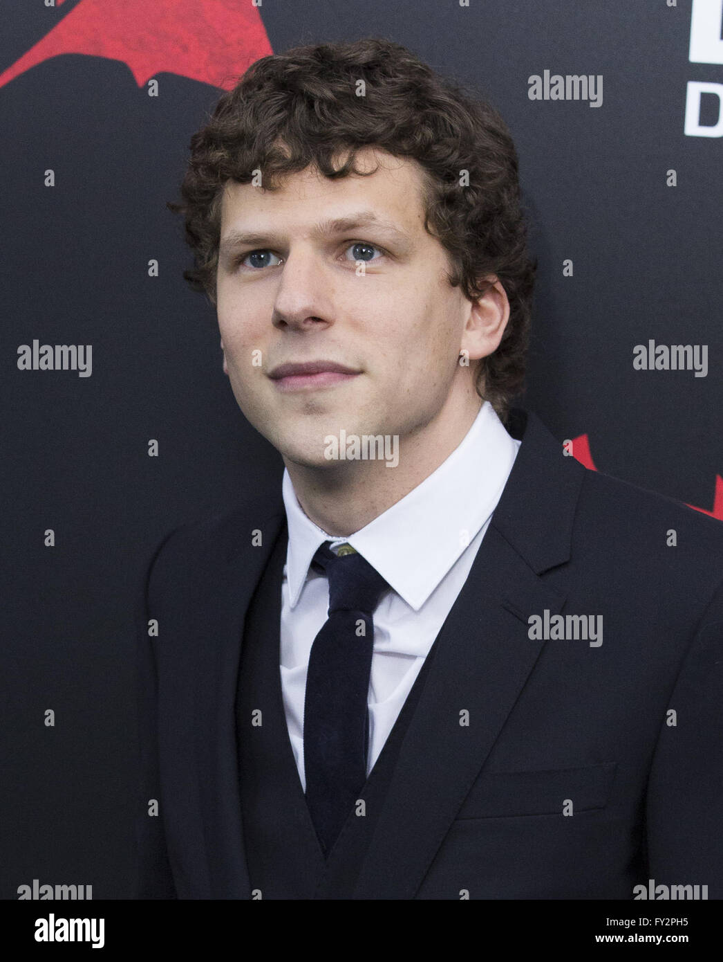 NY Premiere of Batman vs Superman Dawn of Justice  Featuring: Jesse Eisenberg Where: New York, New York, United - Stock Image
