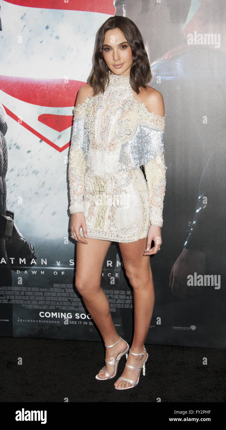 NY Premiere of Batman vs Superman Dawn of Justice  Featuring: Gal Godot Where: New York, New York, United States - Stock Image