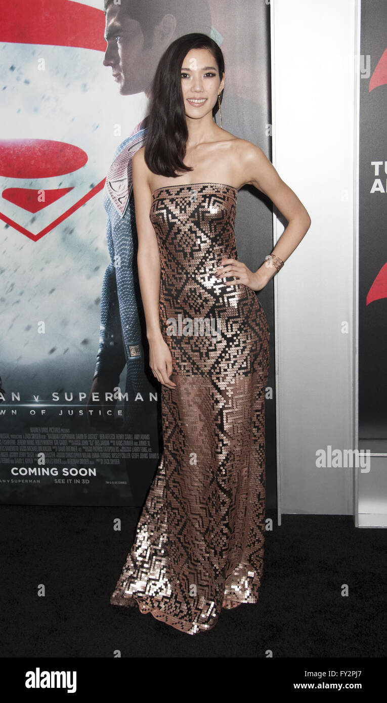 NY Premiere of Batman vs Superman Dawn of Justice  Featuring: Tao Okamoto Where: New York, New York, United States - Stock Image