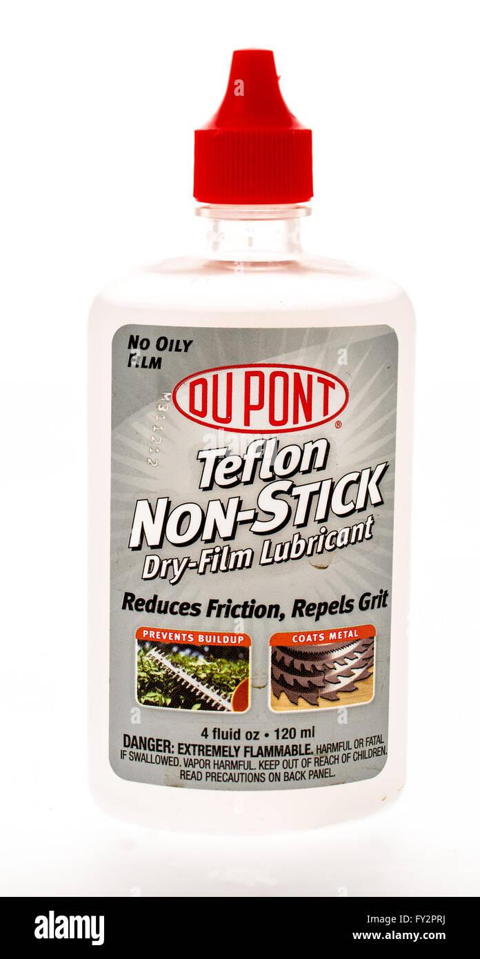 Winneconne, WI - 20 April 2015:  Bottle of Du Pont teflon non-stick dry film lubricant. - Stock Image
