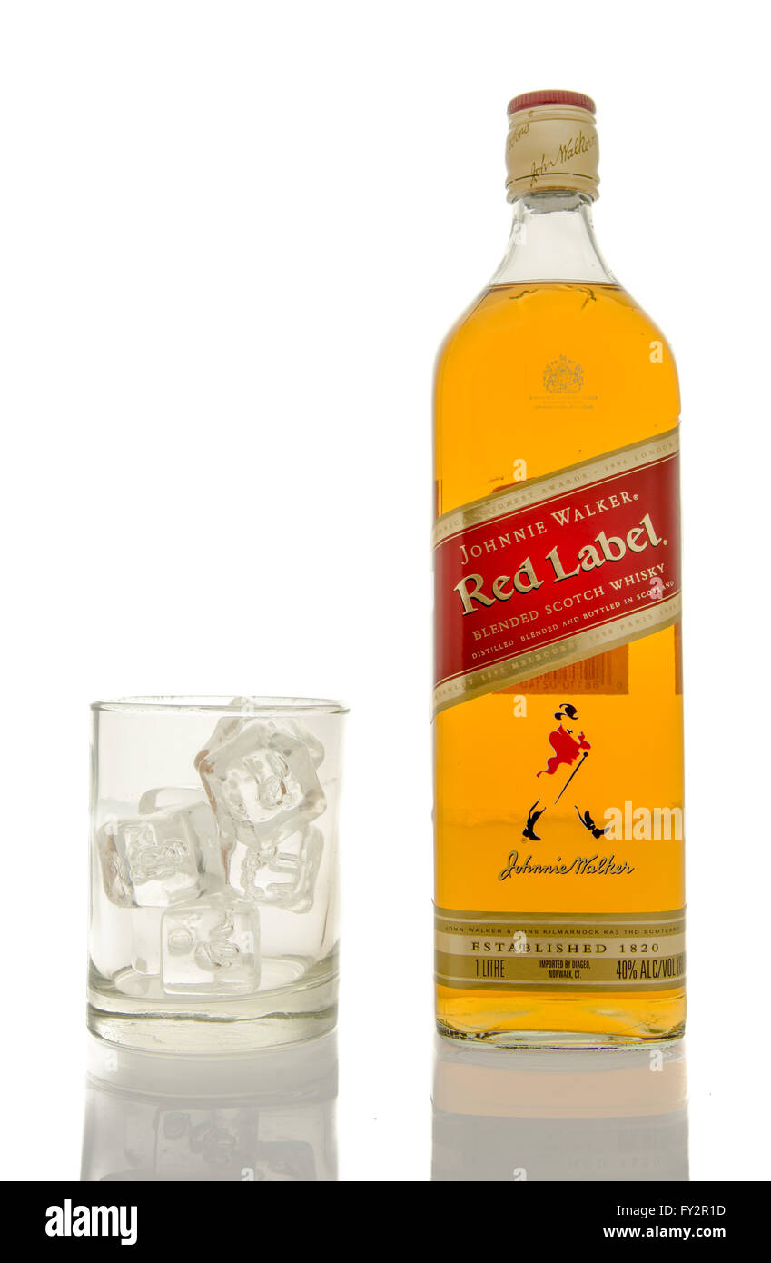 a391de4f24b Whisky Red Label Bottle Glass Stock Photos   Whisky Red Label Bottle ...