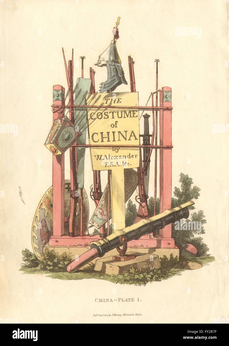 CHINA. Frontispiece. Chinese costume. A Stand of Arms. ALEXANDER , print 1814 - Stock Image