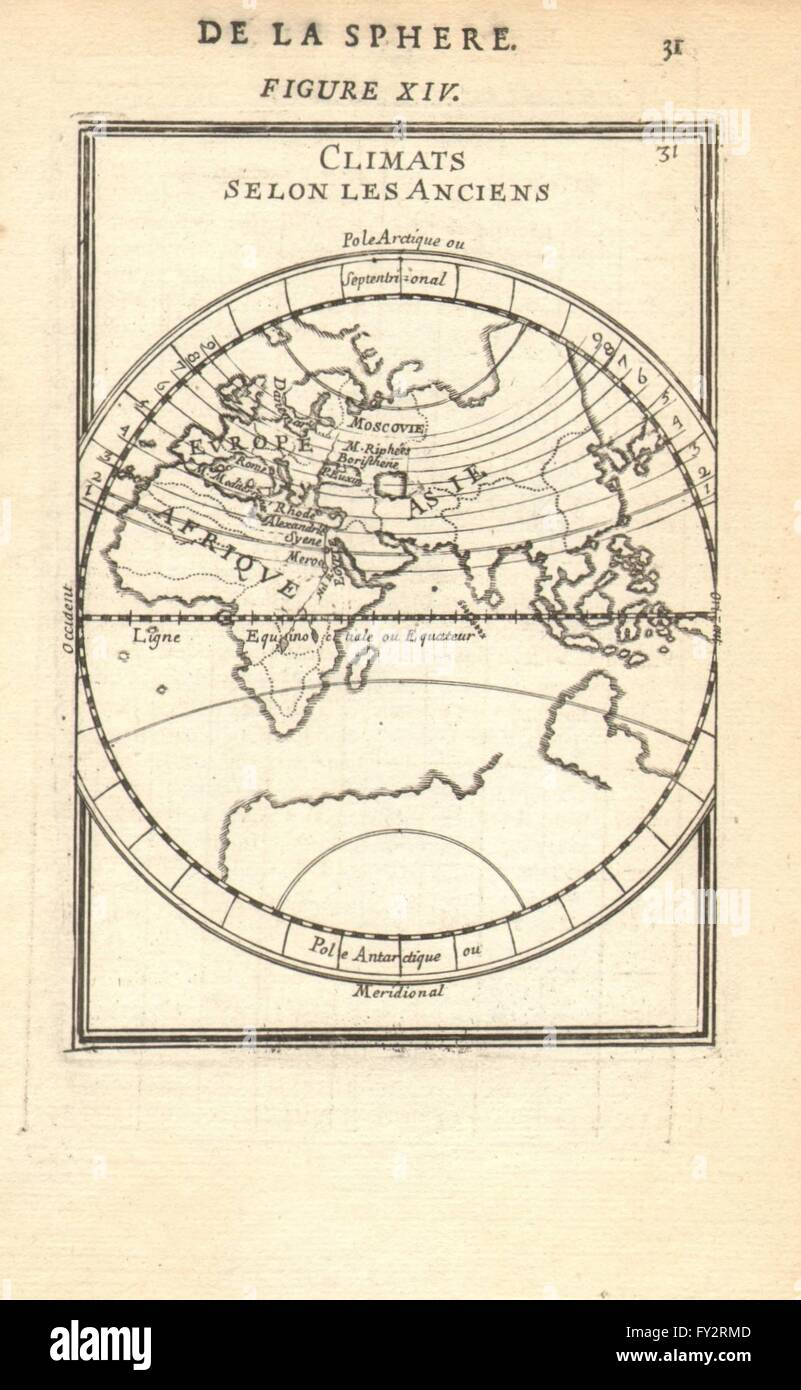 EASTERN HEMISPHERE: Climatic regions according to the ancients.MALLET, 1683 map - Stock Image