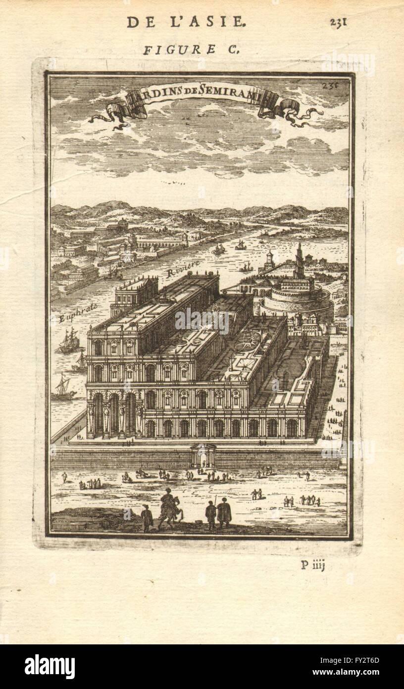 HANGING GARDENS OF BABYLON: 'Jardins de Semiramis'. MALLET, antique print 1683 Stock Photo