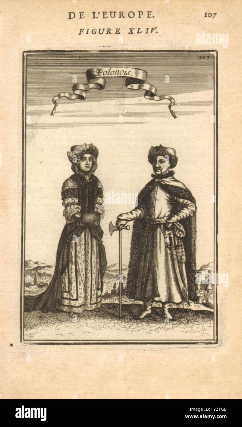 POLAND COSTUME: Polish man & woman in national dress. 'Polonois'. MALLET, 1683 Stock Photo