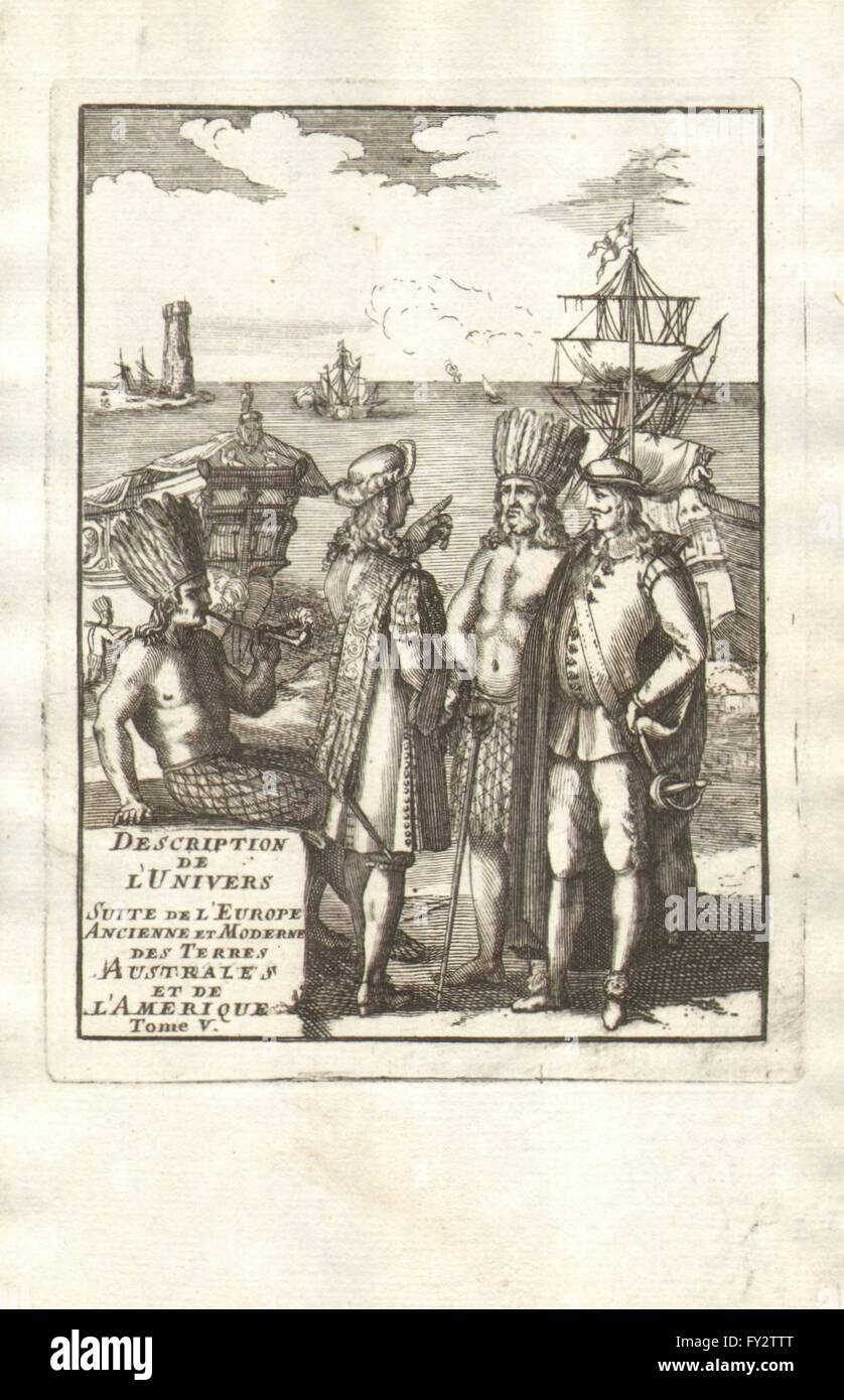 MALLET TITLE PAGE VOLUME 5: Europeans with native Americans, old print 1683 Stock Photo