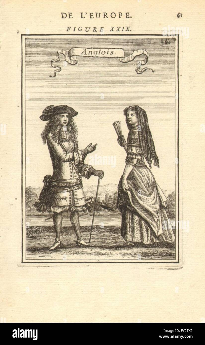 Anglois english costume: man & woman in 17th century dress. 'anglois
