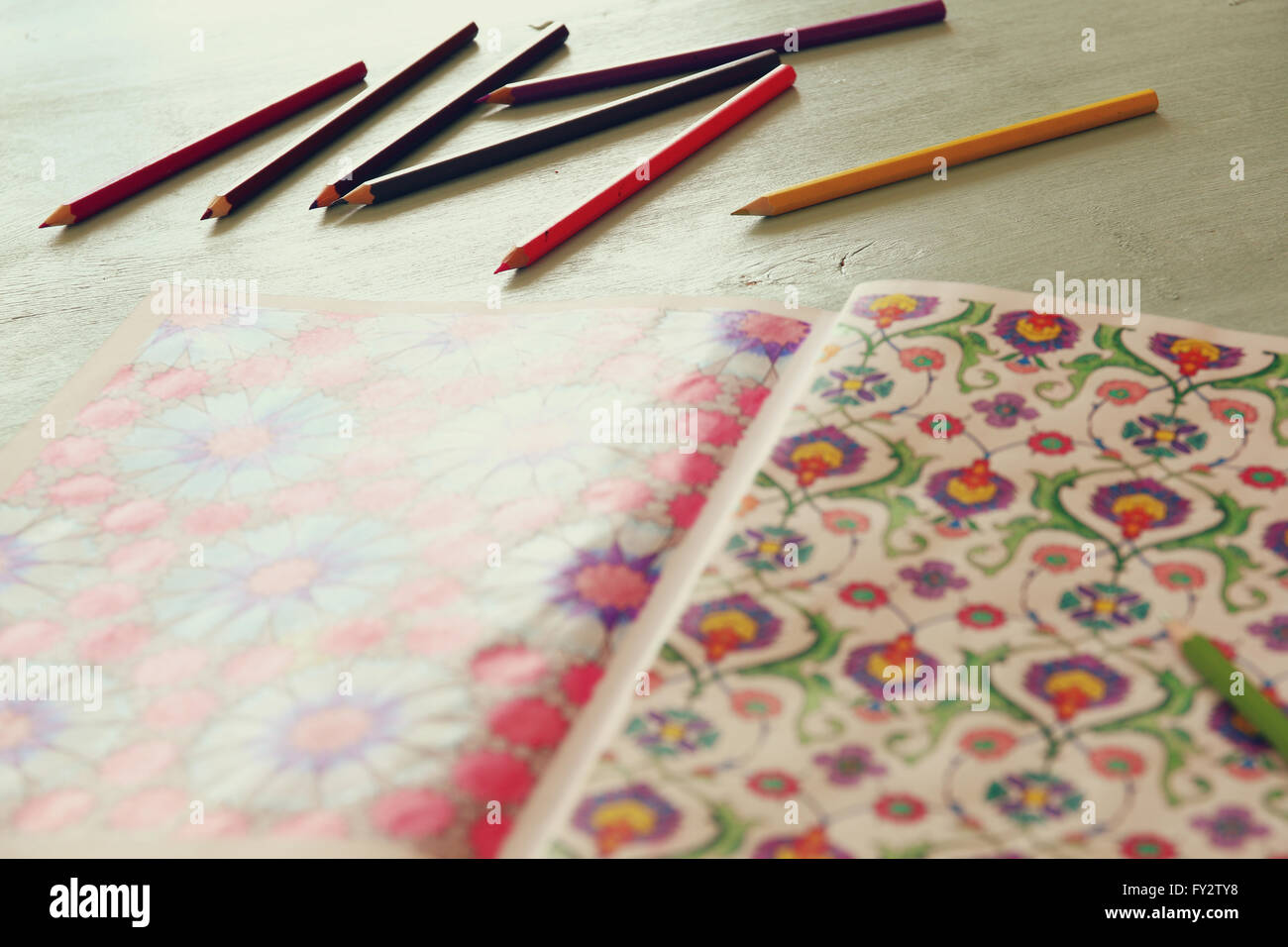 adult coloring book trend, for stress relief. top view. selective focus - Stock Image