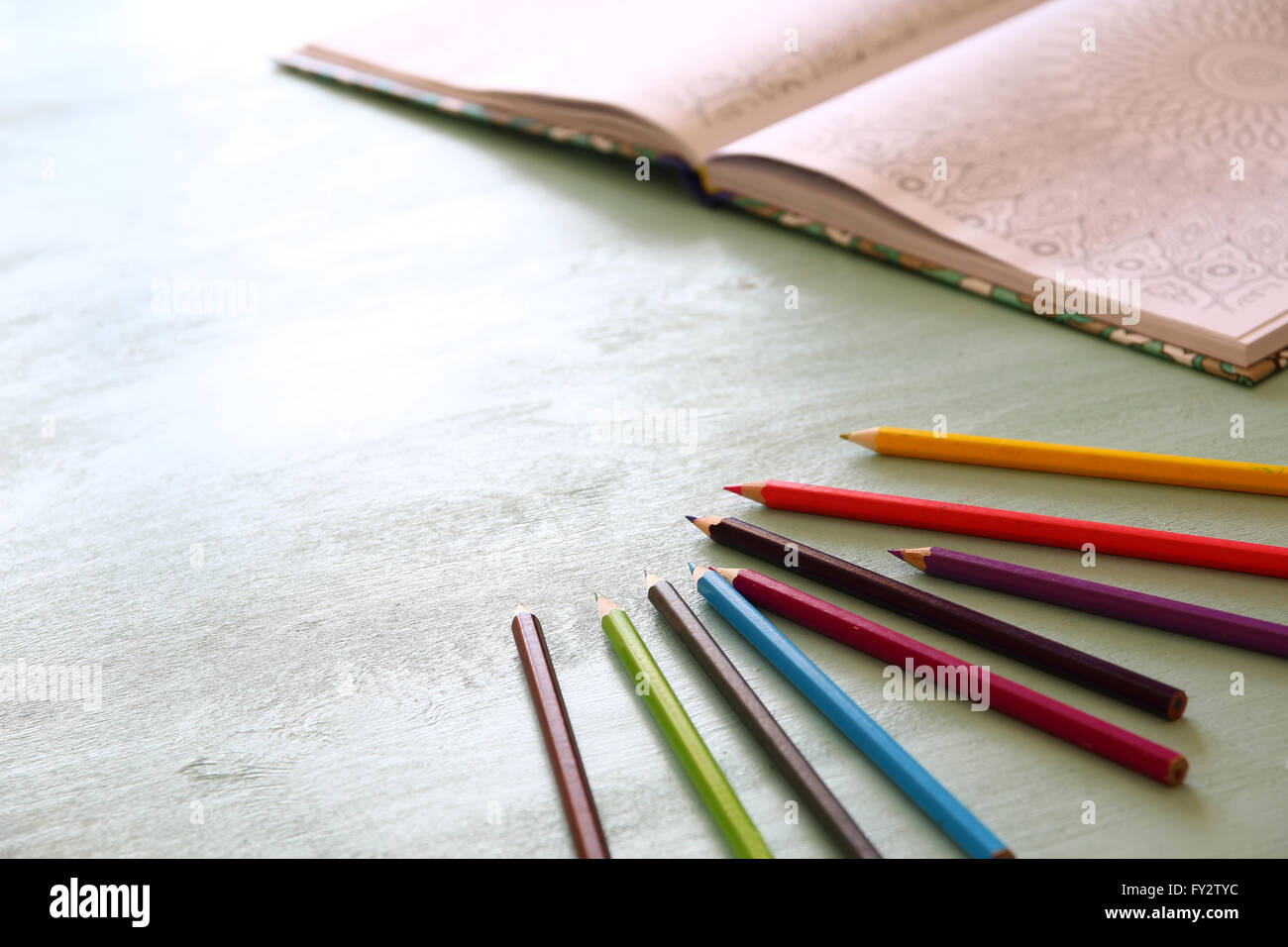adult coloring book trend, for stress relief. top view. selective focus. - Stock Image