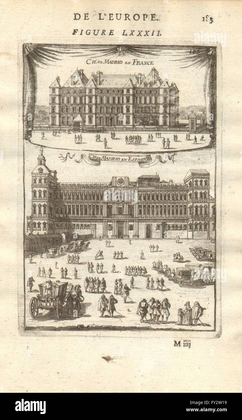 CHÂTEAUX DE MADRID: in Neuilly, Paris (demolished c1790) & in Spain. MALLET 1683 - Stock Image