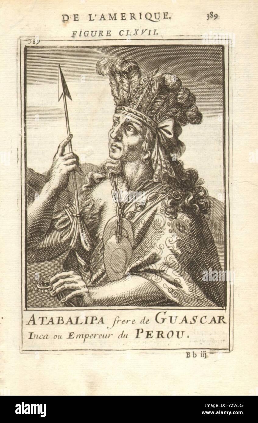 ATAHUALPA/ATABALIPA: The last Sapa Inca Emperor. Tawantinsuyu. Peru. MALLET 1683 - Stock Image