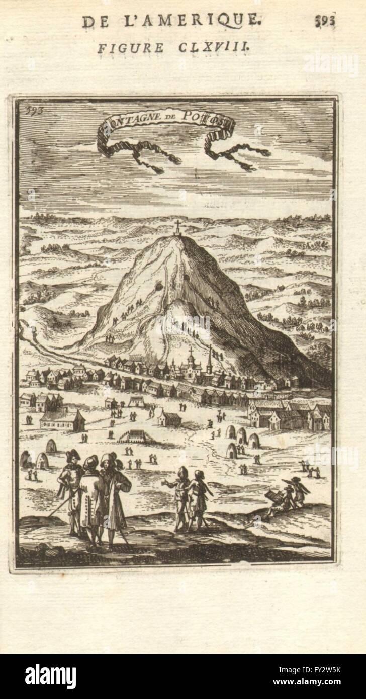 POTOSI: View of the town & Cerro de Potosí. Silver mines. Bolivia. MALLET, 1683 - Stock Image