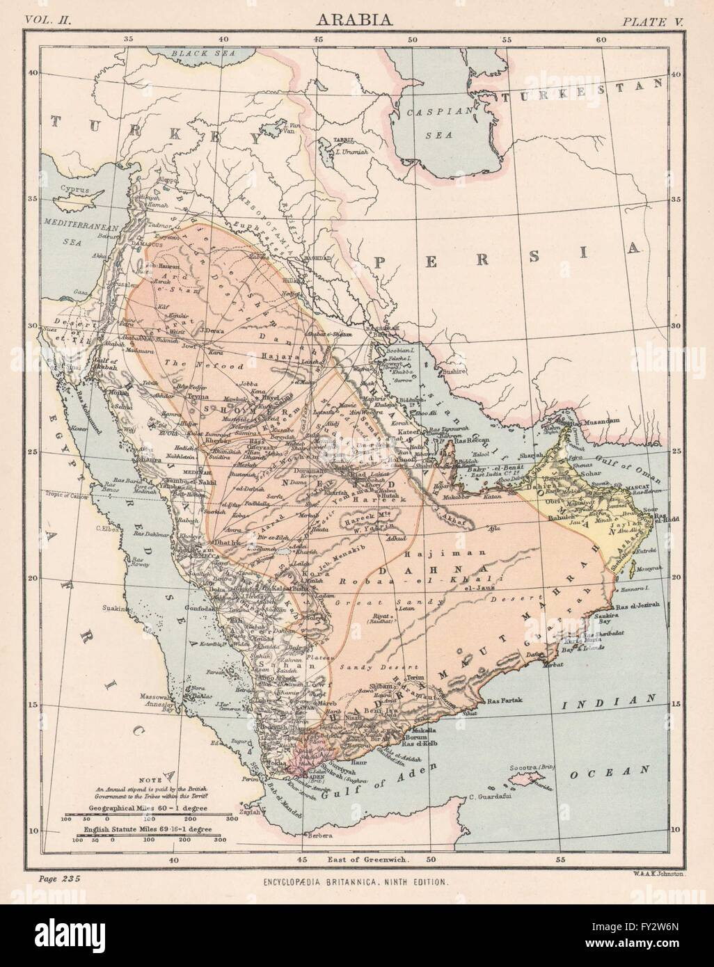arabia saudi arabia oman aden yemen uae mecca medina 1898 antique map