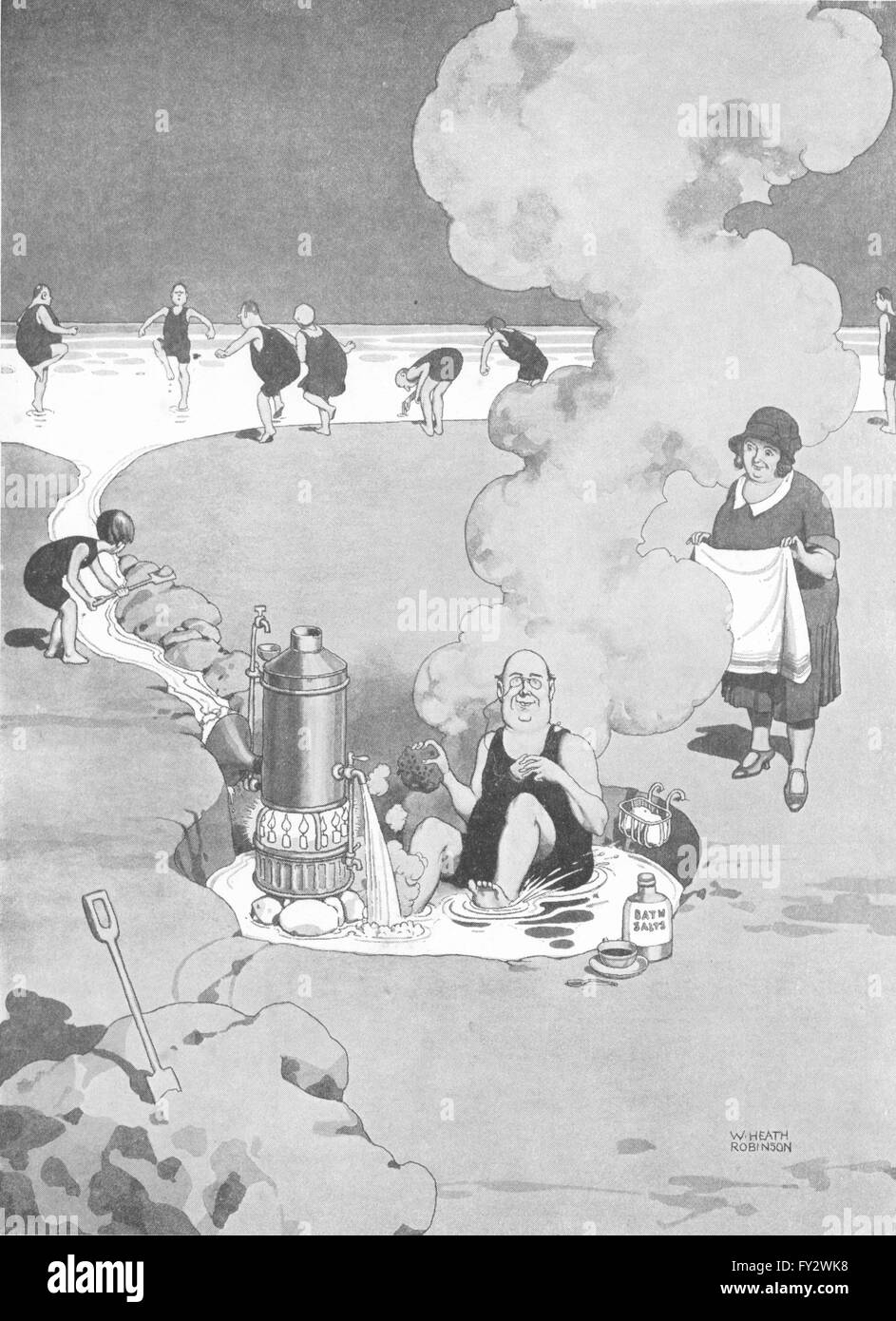 HEATH ROBINSON:Tempering water to shorn lamb.Waterside geyser beach holiday 1935 Stock Photo