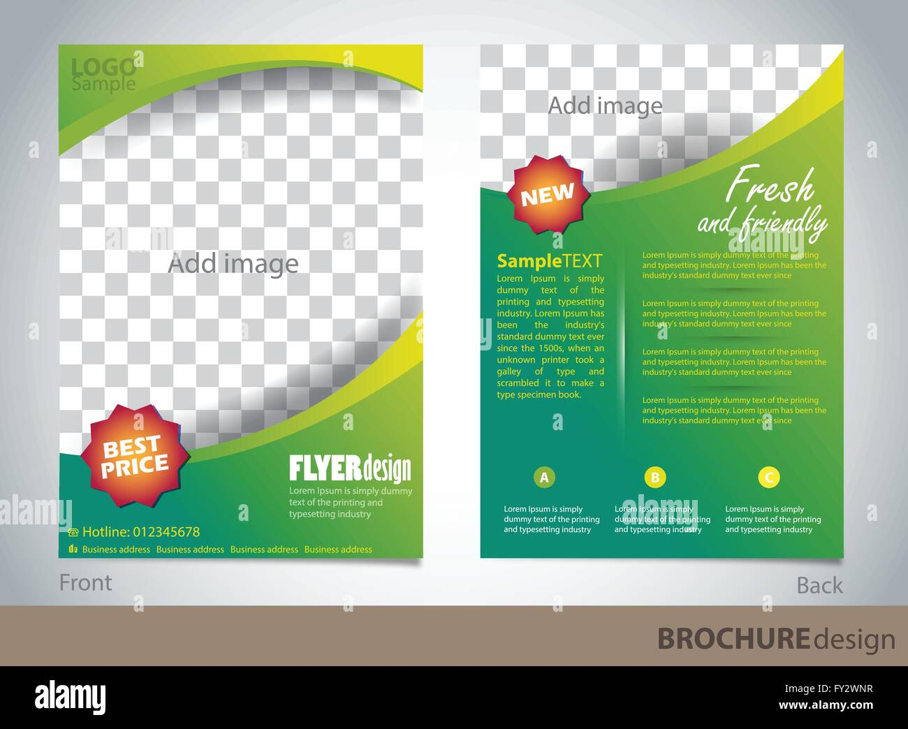 brochure design template proportionally for a4 size stock vector