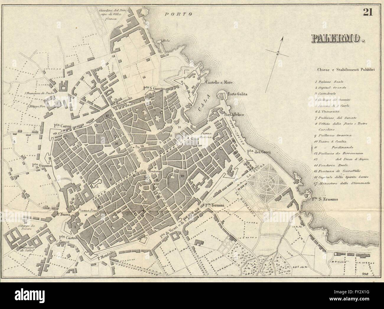 Palermo Antique Town Plan City Map Italy Bradshaw 1890 Stock