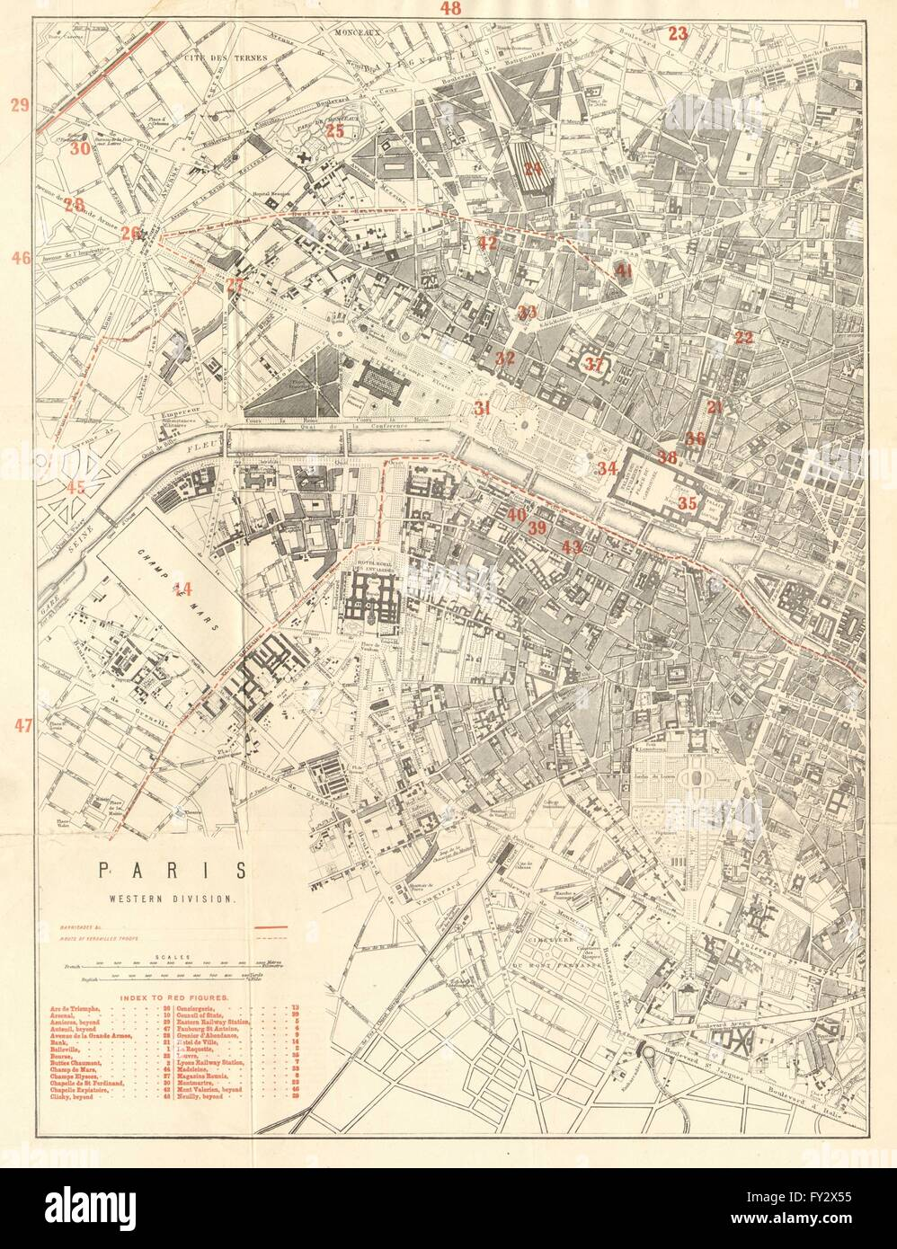 Paris Georgia Map.Paris West Franco Prussian War Barricades Versailles Troops Stock