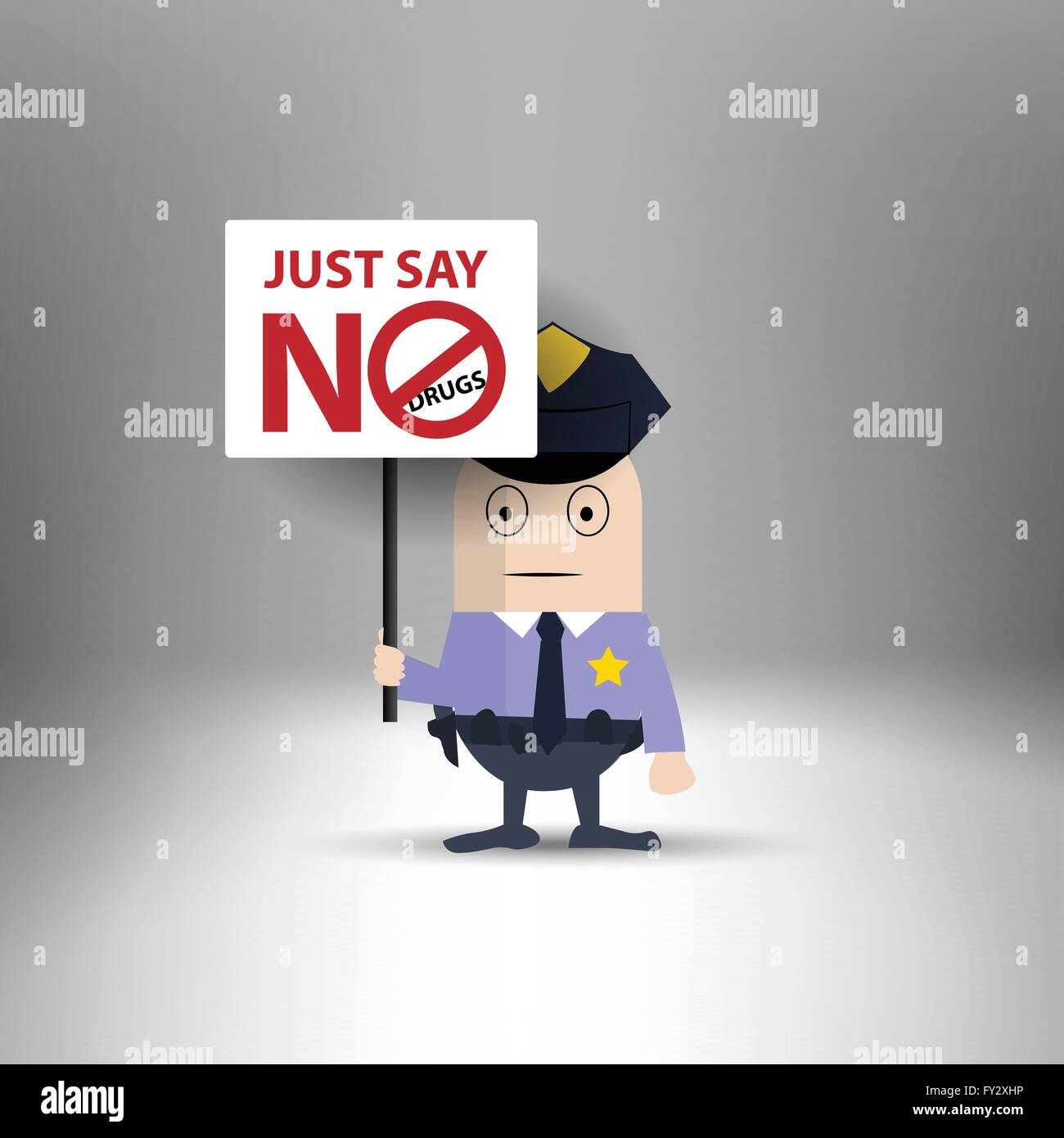 Police holding message: Just say no drugs - Stock Image