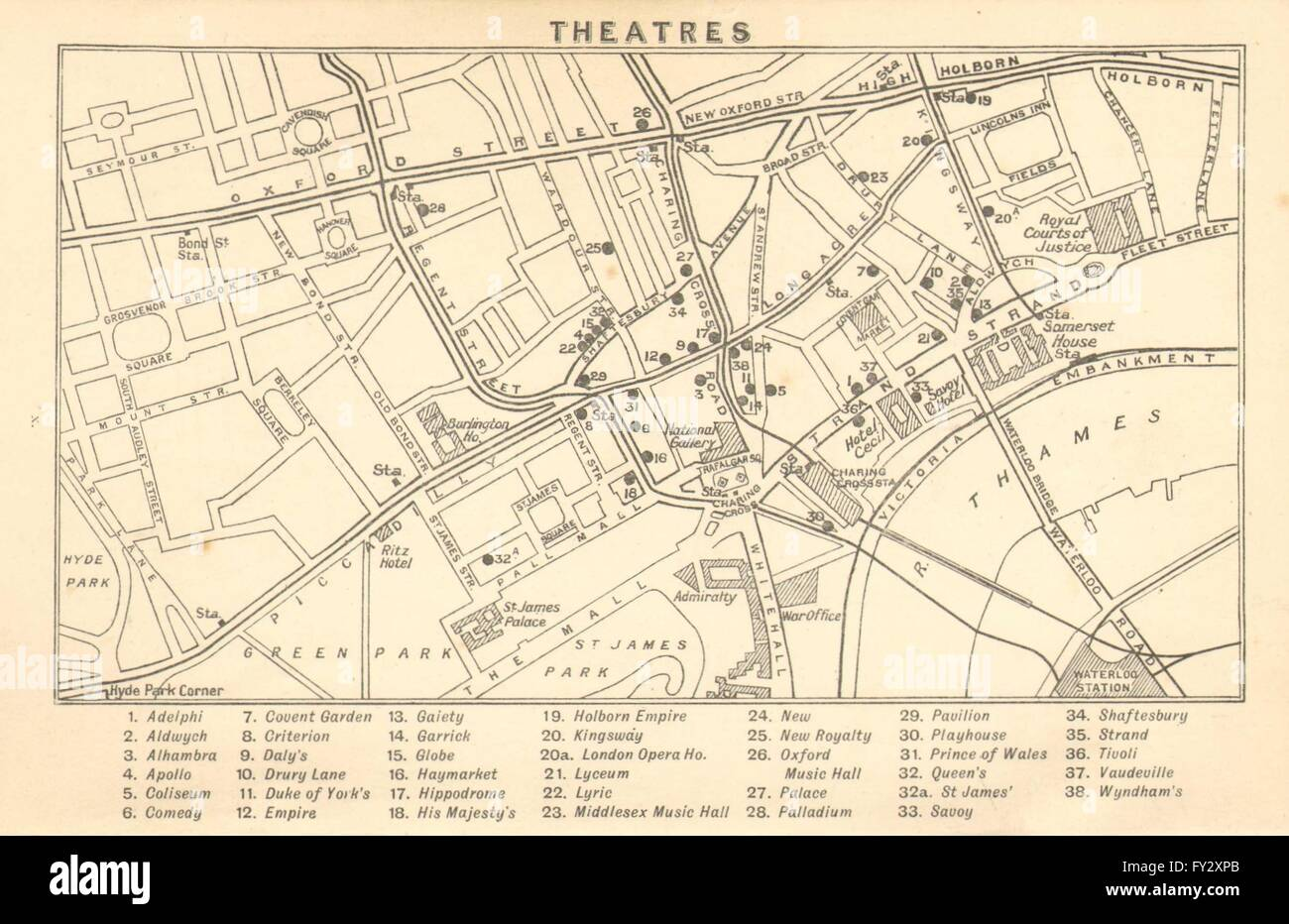 Shaftesbury Avenue Map WEST END THEATRES: Covent Garden Shaftesbury Avenue &c , 1913