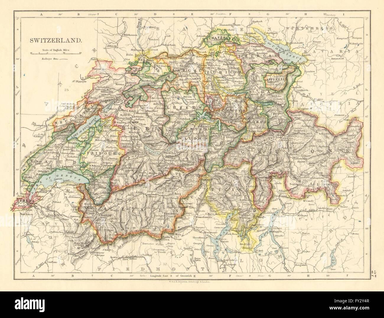 SWITZERLAND. Shows cantons & railways. Alps. Italian lakes. JOHNSTON ...