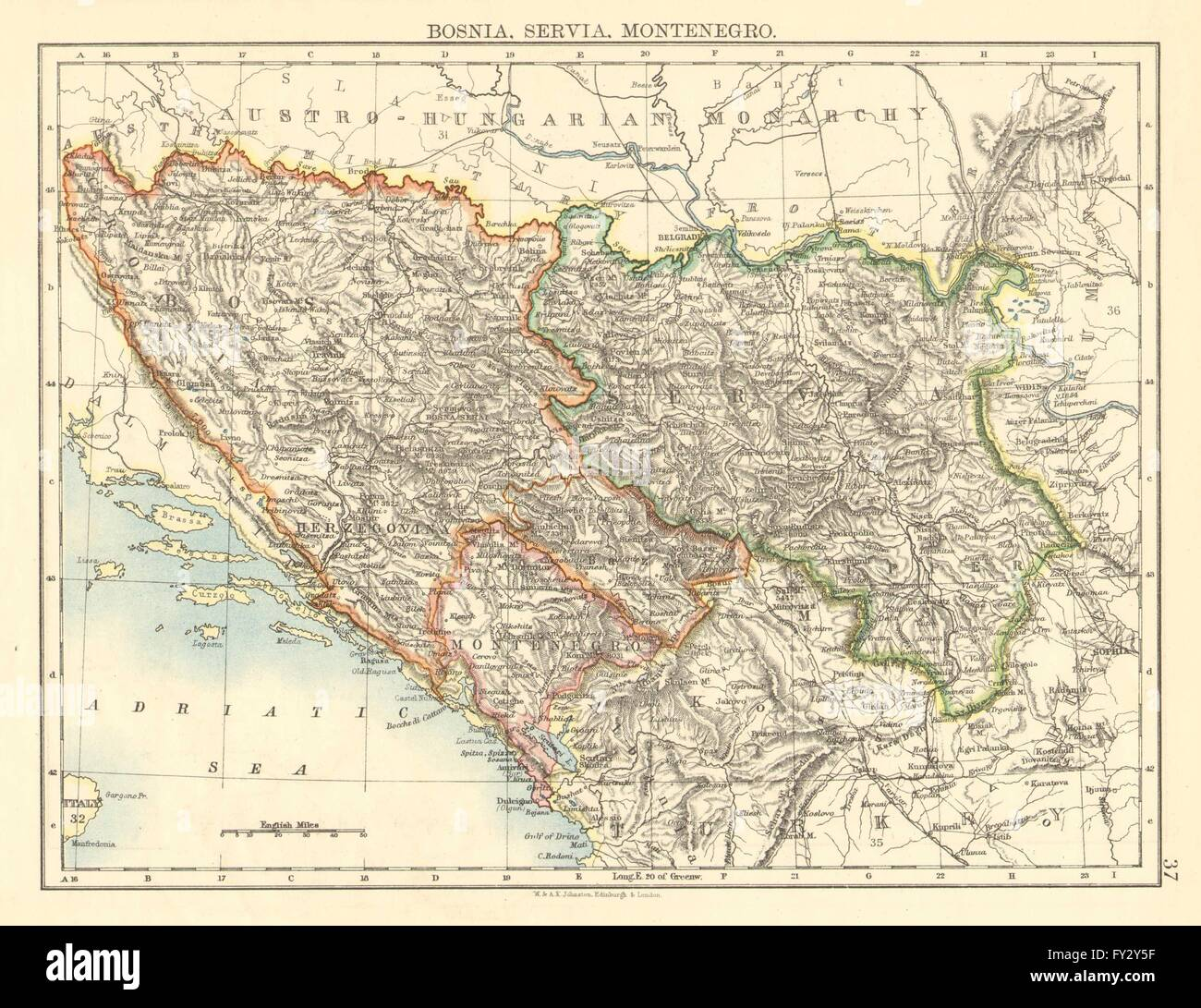 Bosnia servia montenegro balkans serbia croatia stock photo balkans serbia croatia herzegovinahnston 1899 map gumiabroncs Choice Image