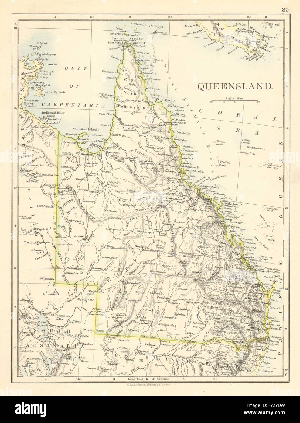 Queensland Australia Map.Queensland State Map Brisbane Gold Coast Railways Australia Stock