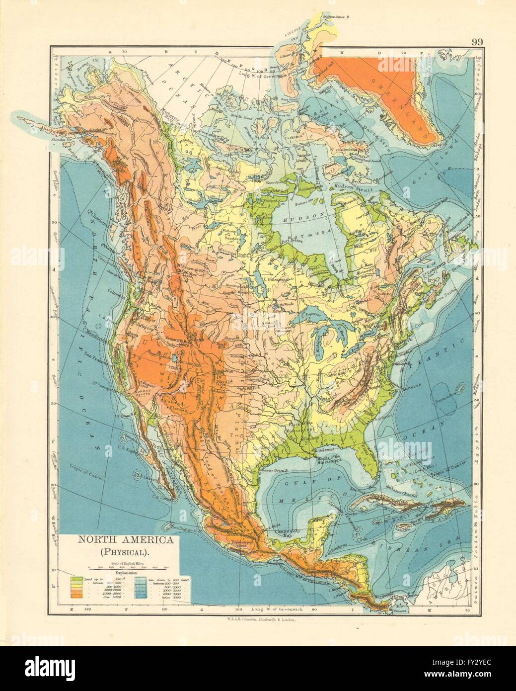 NORTH AMERICA PHYSICAL Relief Key mountains heights Ocean depths