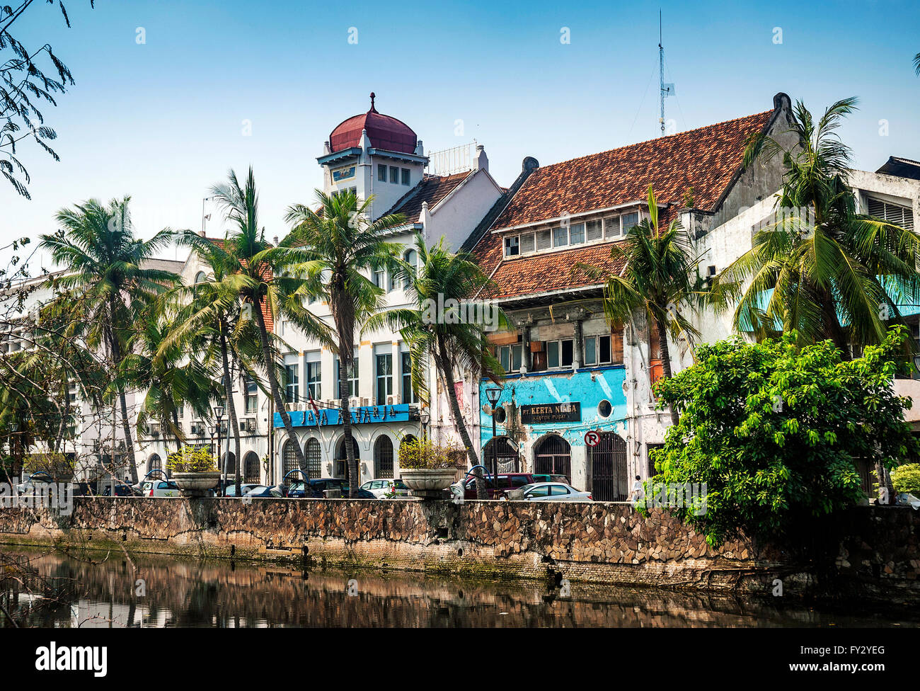 dutch colonial architecture buildings in old town of jakarta indonesia - Stock Image