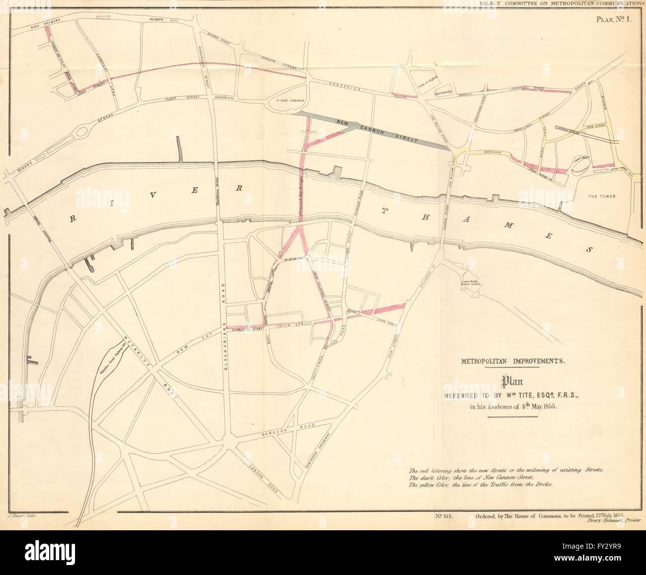 Proposed London road improvements, including ST PAUL'S BRIDGE. TITE, 1855 map - Stock Image