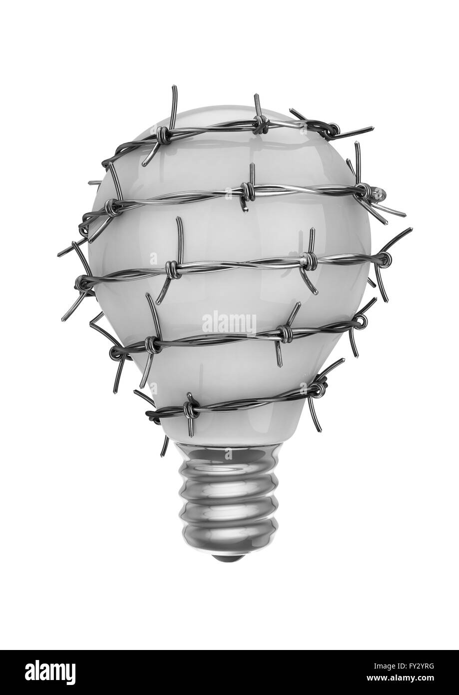 Ideas of freedom / 3D render of light bulb wrapped in barbed wire - Stock Image