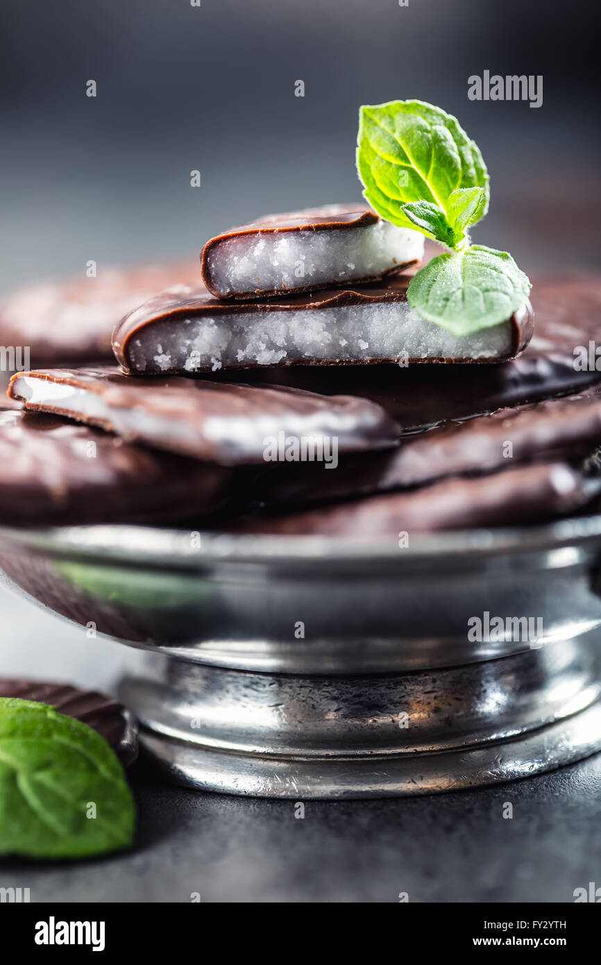 Chocolate peppermint cookies.Mint. Peppermint. Menthol. Black chocolate with peppermint cream. Black chocolate with - Stock Image