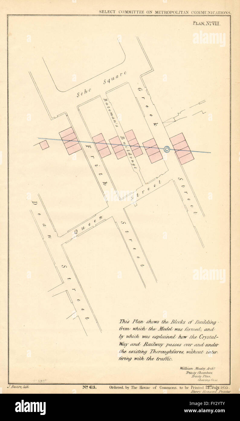 CRYSTAL WAY route in Soho.Frith Greek Dean Street Soho Square.MOSELEY, 1855 map - Stock Image