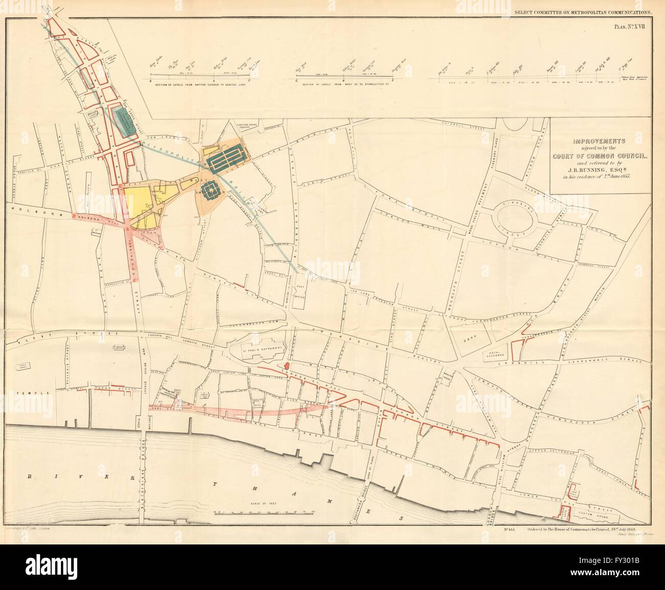 Victoria London Map.City Of London Queen Victoria Street Farringdon Road Plans Bunning