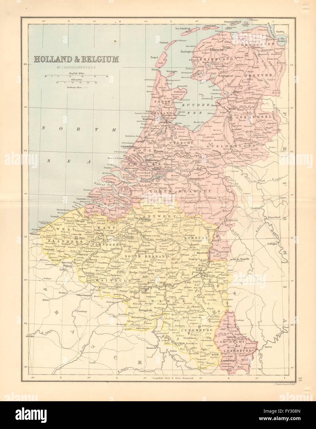 holland belgium luxembourg bartholomew 1876 antique map