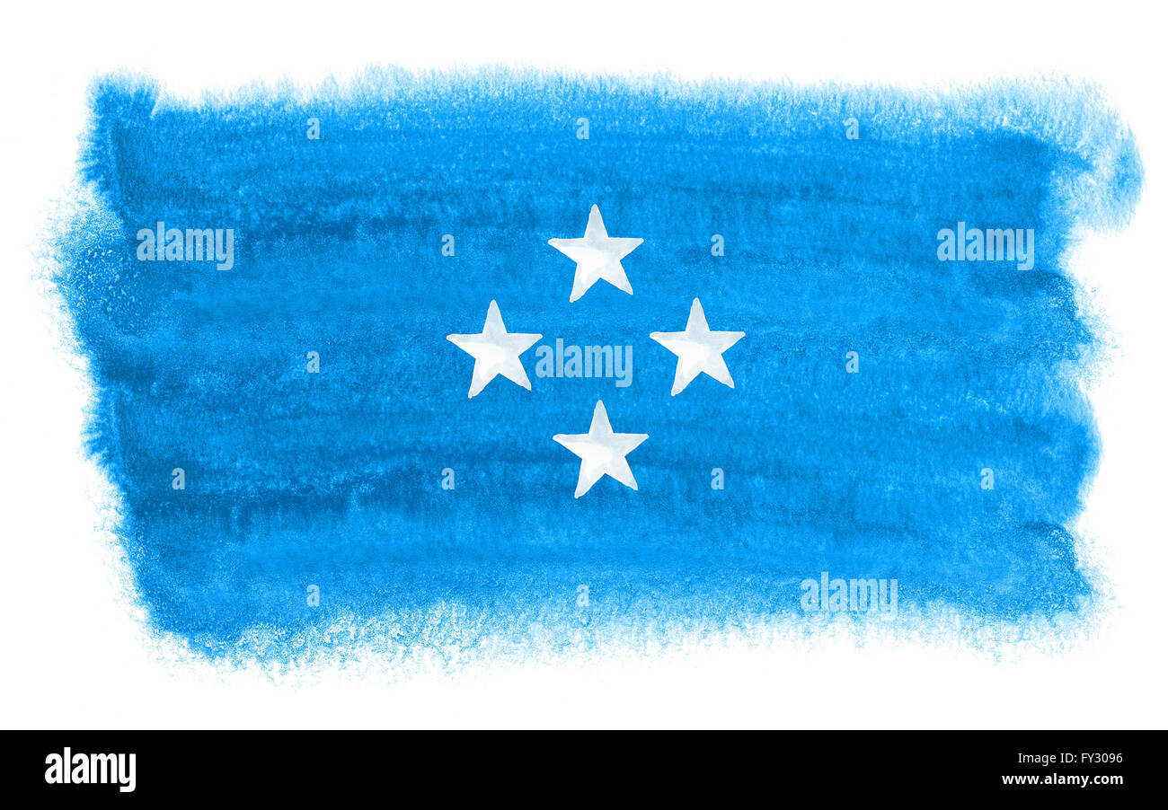 watercolor illustration of the Micronesia flag - Stock Image