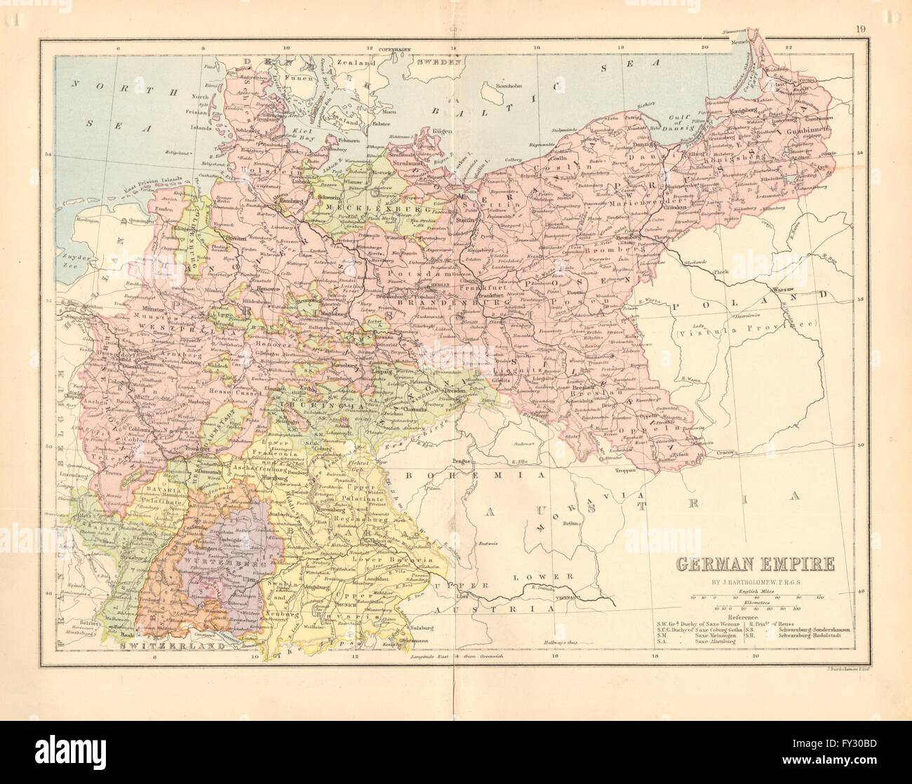 States Map Of Germany.Germany German Empire Prussia States Railways Bartholomew
