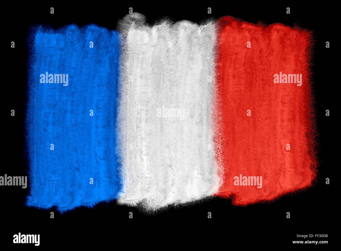 watercolor illustration of the France flag - Stock Image