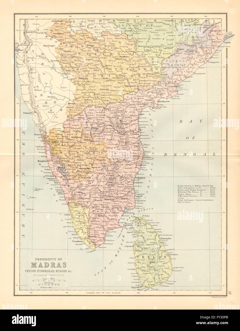 Madras India Map.British India South Madras Presidency Mysore Ceylon Coromandel