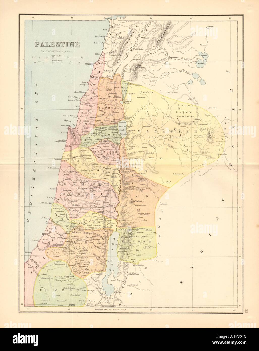PALESTINE. 12 tribes of Israel. Judea Samaria Galilee. BARTHOLOMEW on aelia capitolina map, israeli settlement, middle east map, mount carmel map, sinai peninsula map, iudaea province map, philistia map, jezreel valley map, west bank map, the decapolis map, laodicean church map, mount gerizim, jerusalem map, jordan river map, tyre map, judea and samaria, sea of galilee, old testament holy land map, damascus map, kingdom of judah, tell beit mirsim map, the whole state map, dead sea map, antonia fortress map,