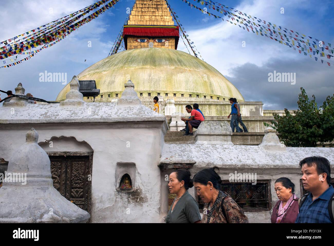 Bodhnath Buddhist Stupa, Kathmandu, Nepal, Asia - Stock Image