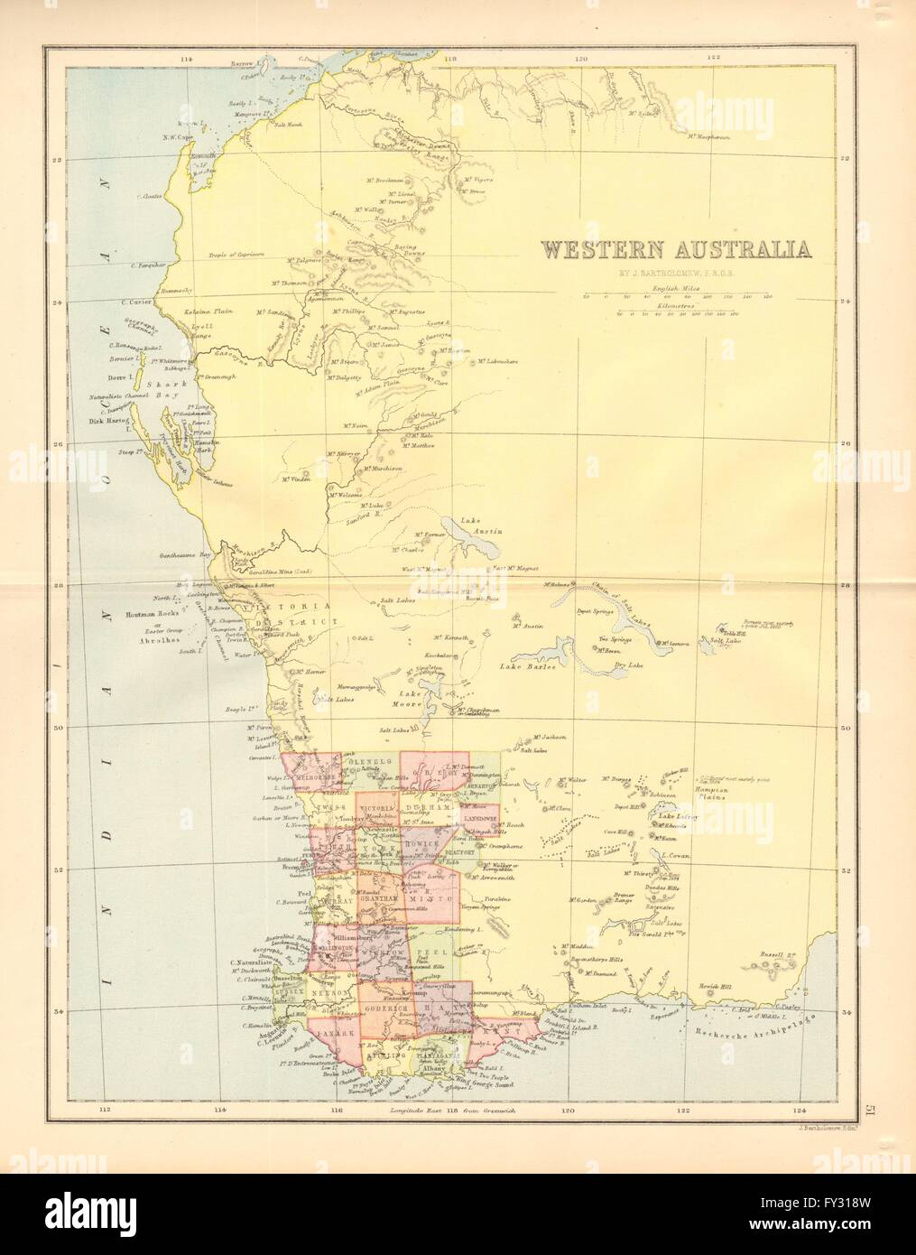 Map Of Australia Showing Perth.Western Australia State Map Showing Only 26 Counties Perth 1876