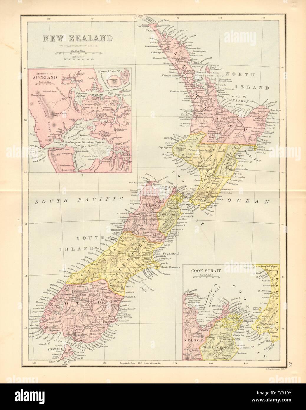 New Zealand Provinces Map.New Zealand Showing 1870 Provinces Auckland Environs Bartholomew