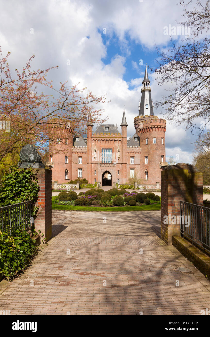 Castle Moyland at Bedburg-Hau near Kleve in the Lower Rhine region, view from the south - Stock Image