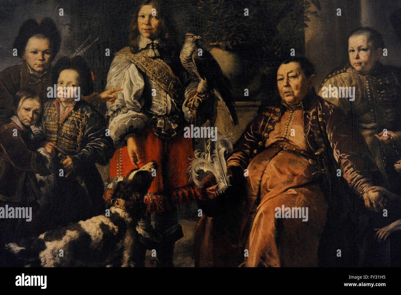 Daniel Schultz the Younger (1615-1683). German painter. Crimean Falconer of King John II Casimir with his Family, - Stock Image