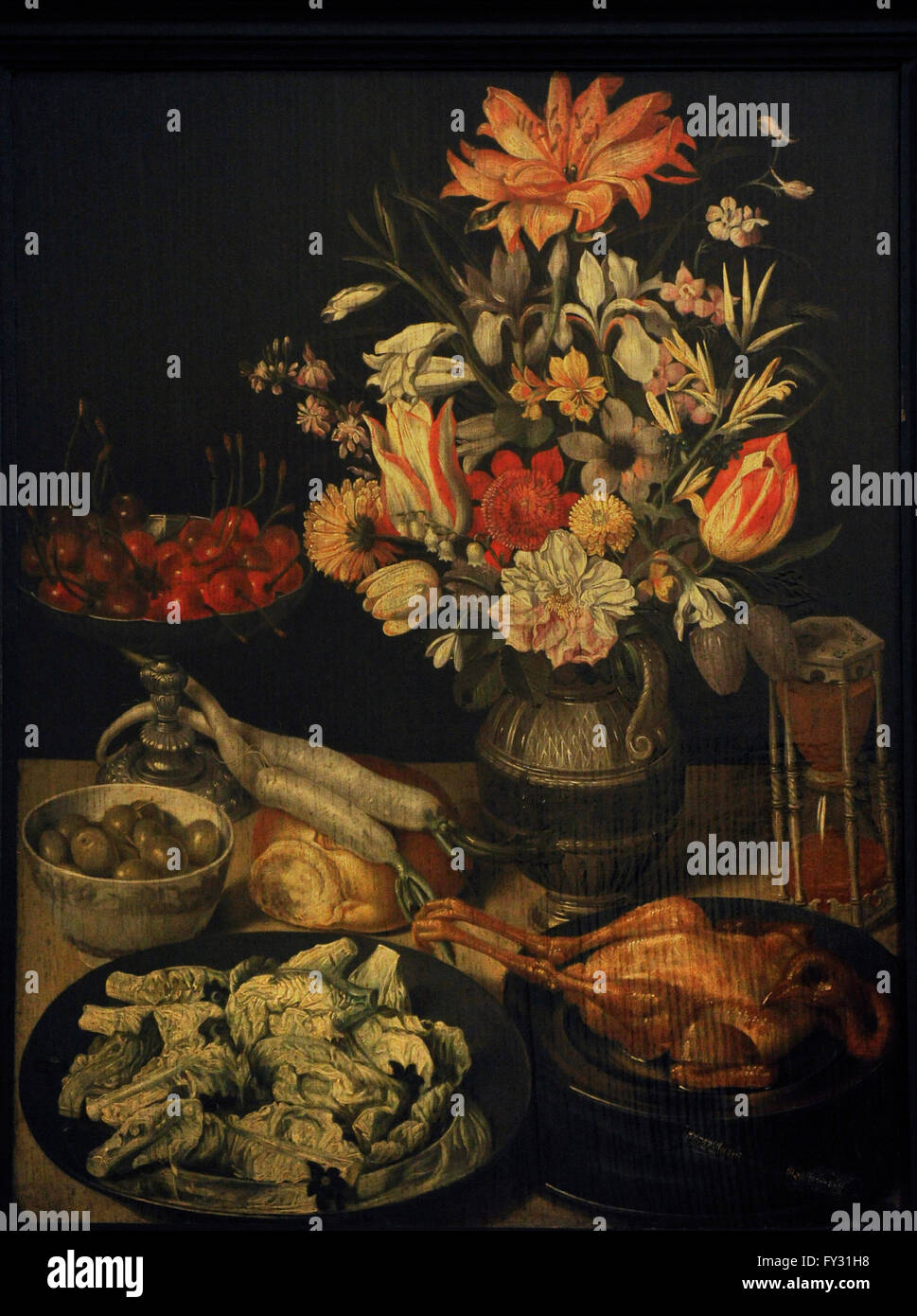 Georg Flegel (1566-1638). German painter. Still Life with Flowers and Snacks, 1630-1635. Oil on panel. The State - Stock Image