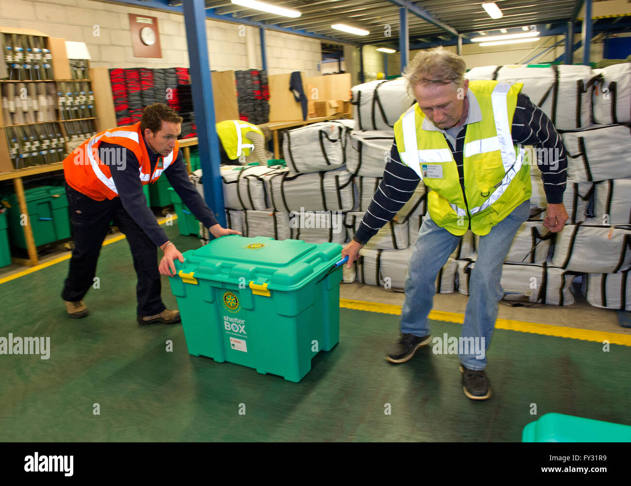 Shelter Box charity headquarters in Helston,Cornwall,UK,where volunteers pack boxes to be shipped to emergency situations.a - Stock Image