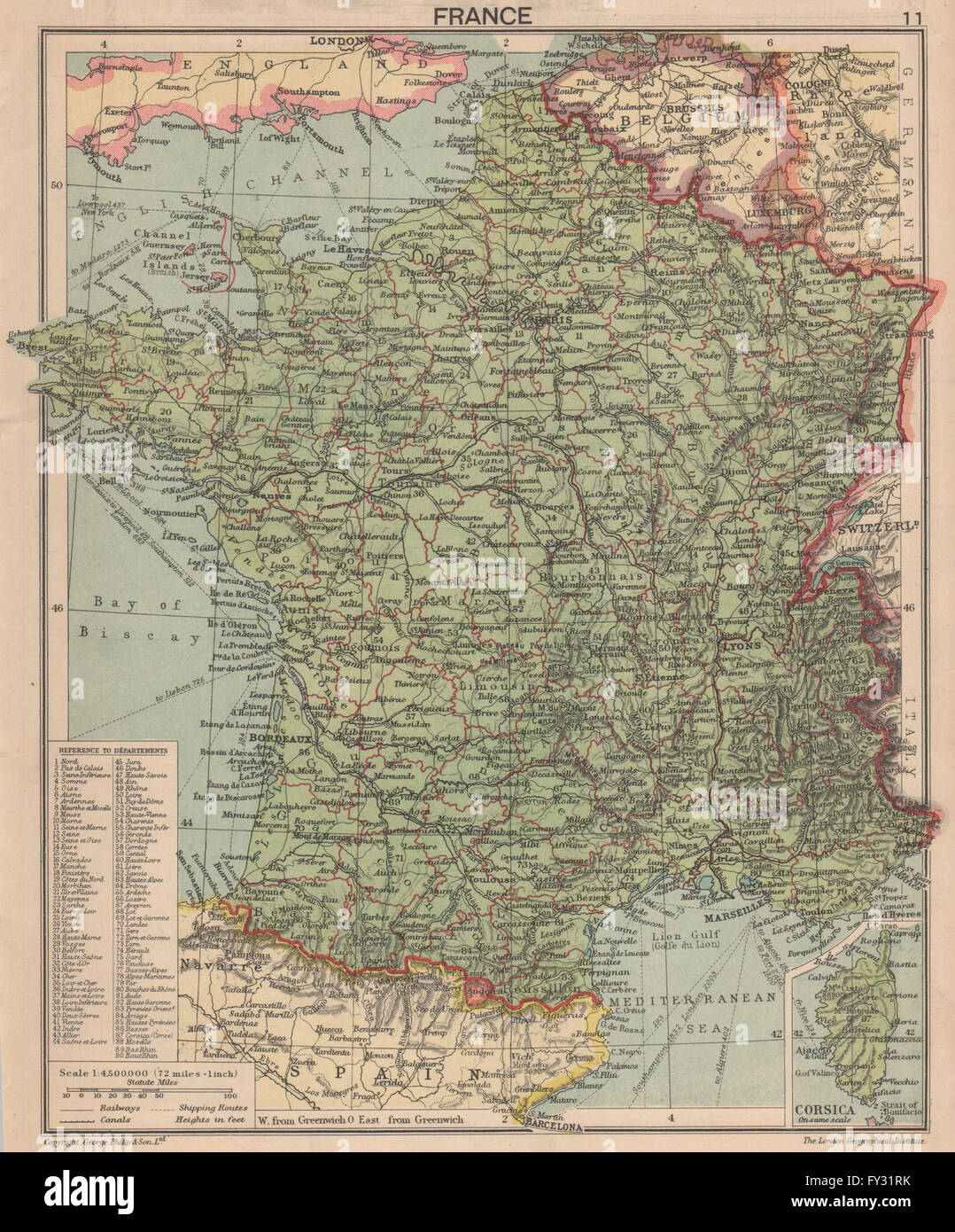 SECOND WORLD WAR: France in 1940. Pre-invasion, 1940 vintage map ...