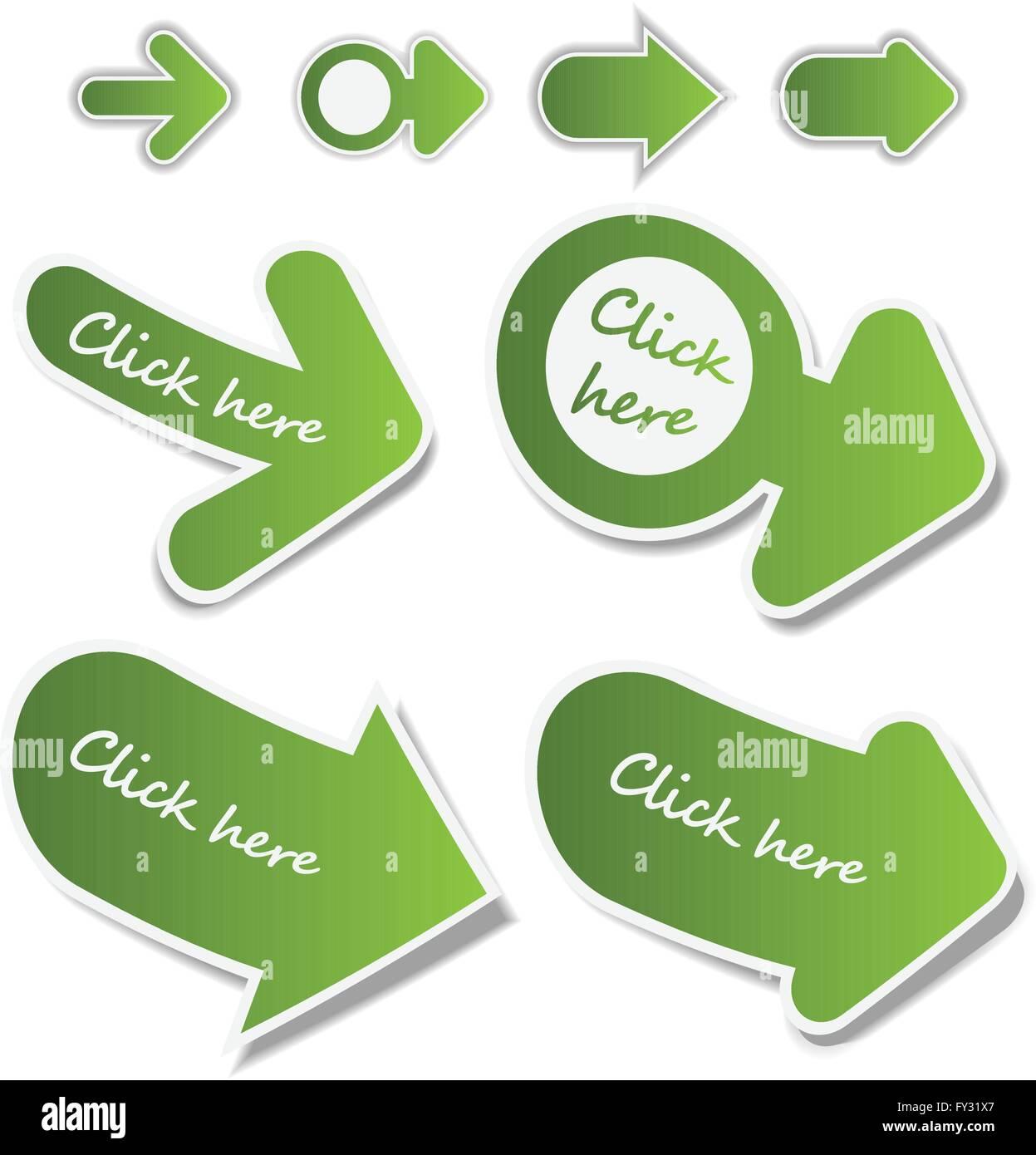 Set of 3D Paper Cut Web Link Arrows Clip-Art - Stock Image