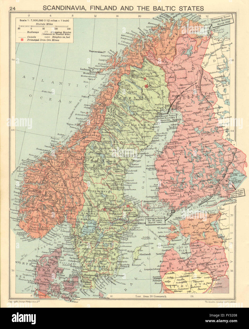 WORLD WAR TWO: Russo-Finland borders March 1940 post Winter War. Hango, 1940 map - Stock Image