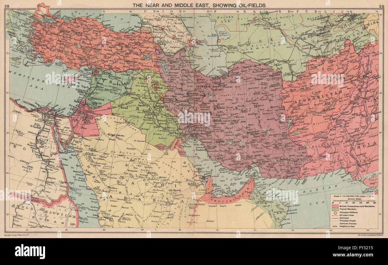Middle East Map Before Ww2.Ww2 Middle East Oilfields Dibai Dubai Abu Dhabi Italian Stock